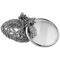 PT221 - Sterling Silver Floral Magnifying Glass Pendant on Chain